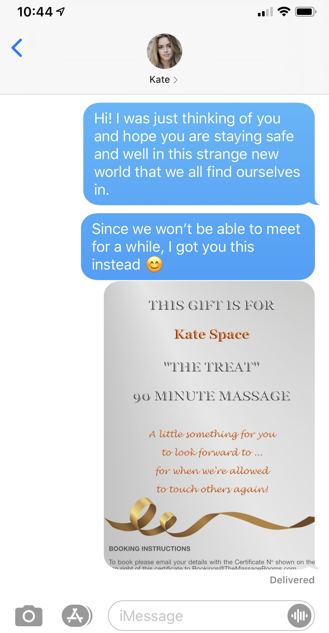 example text message with gift certificate