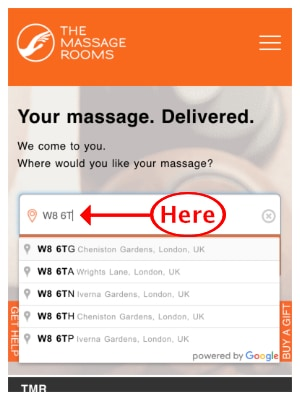 Entering postcode to find nearest massage therapists