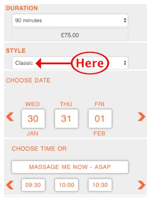 Choosing the massage treatment style