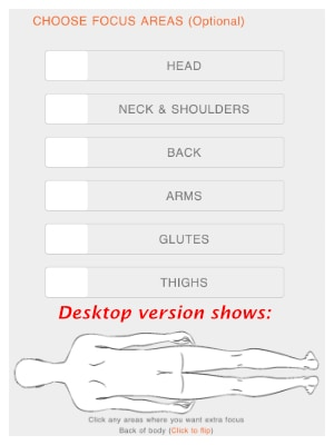 Optional step of choosing which body parts the masseuse should focus on