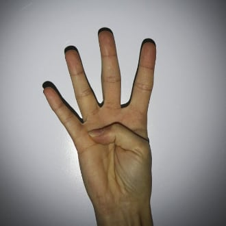 four hands massage: four finger on one hand
