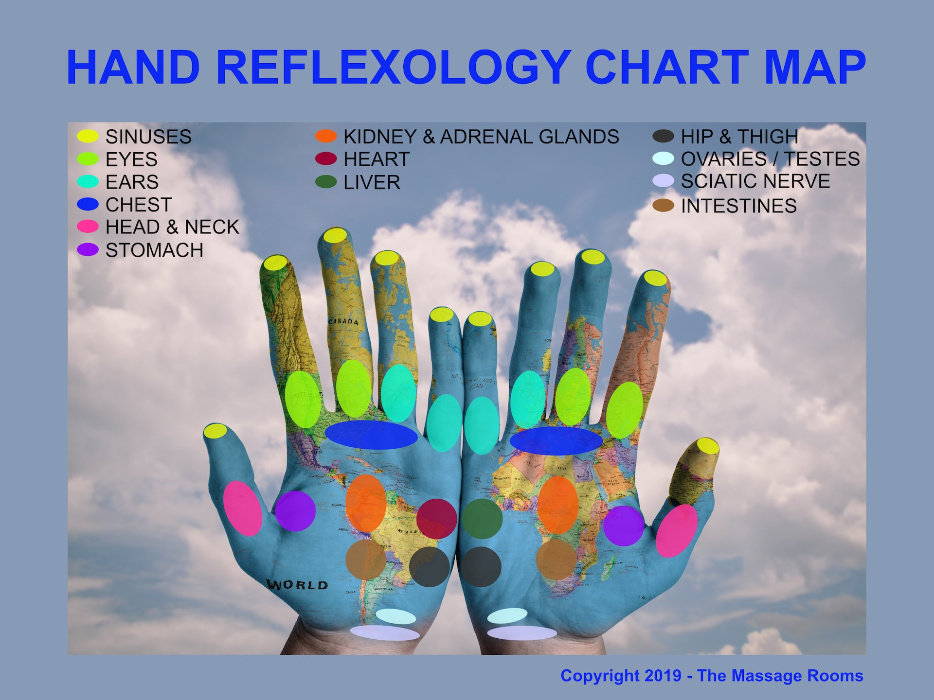 hand reflexology chart, map, hi-res, printable