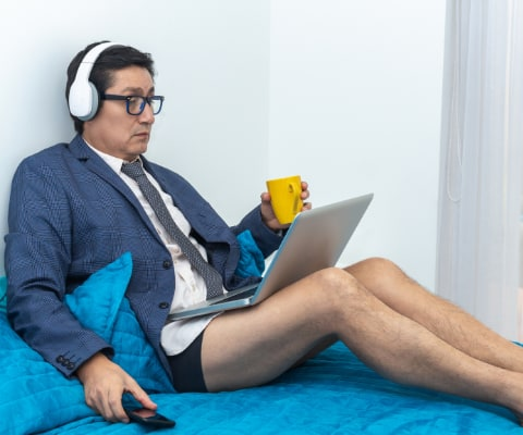 wfh in tie, underwear and bare feet