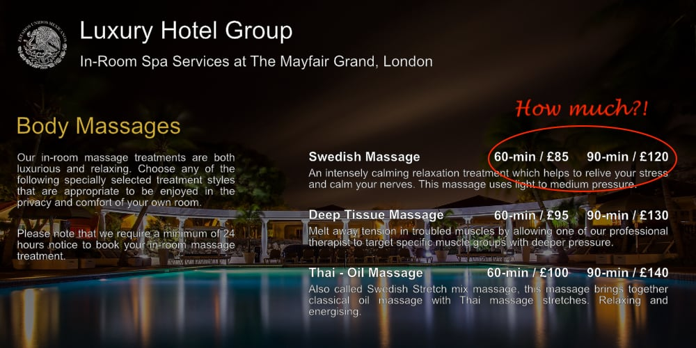 Save money and avoid hotel in room massage menu prices