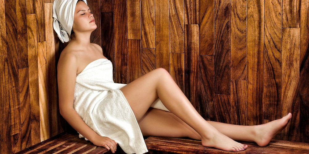 woman, pre-massage, sauna room in hotel